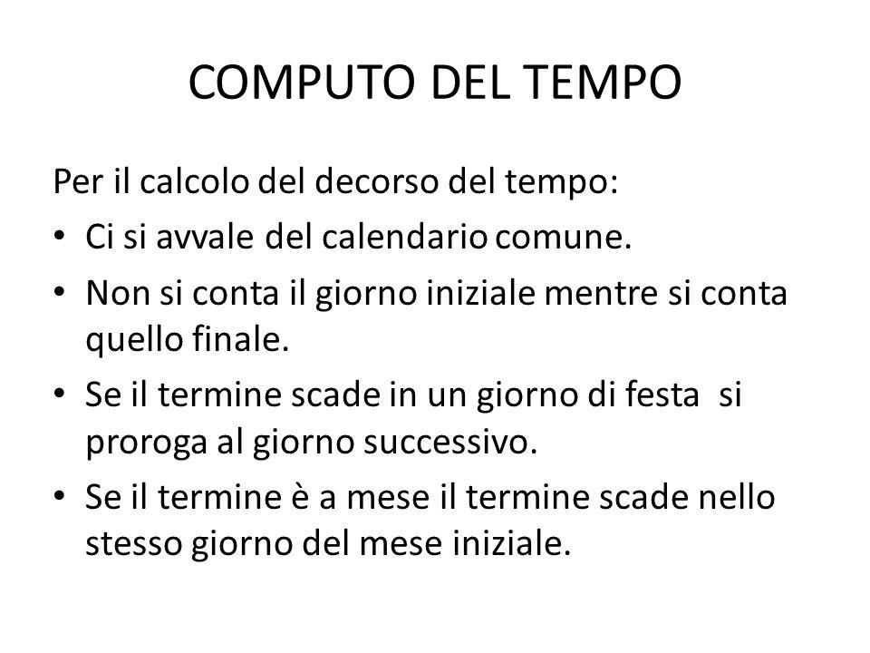 COMPUTO DEL TEMPO Per il calcolo del decorso del tempo: