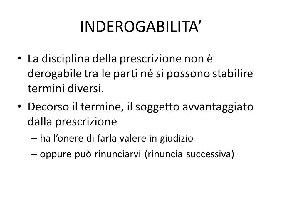 INDEROGABILITA' La disciplina della prescrizione non è derogabile tra le parti né si possono stabilire termini diversi.
