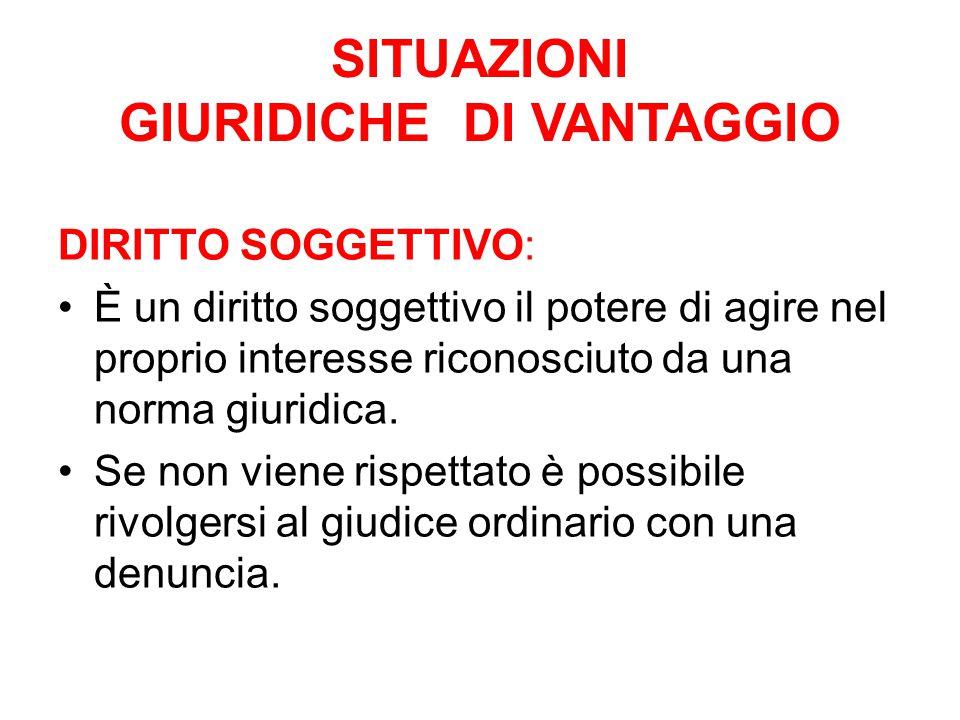 SITUAZIONI GIURIDICHE DI VANTAGGIO