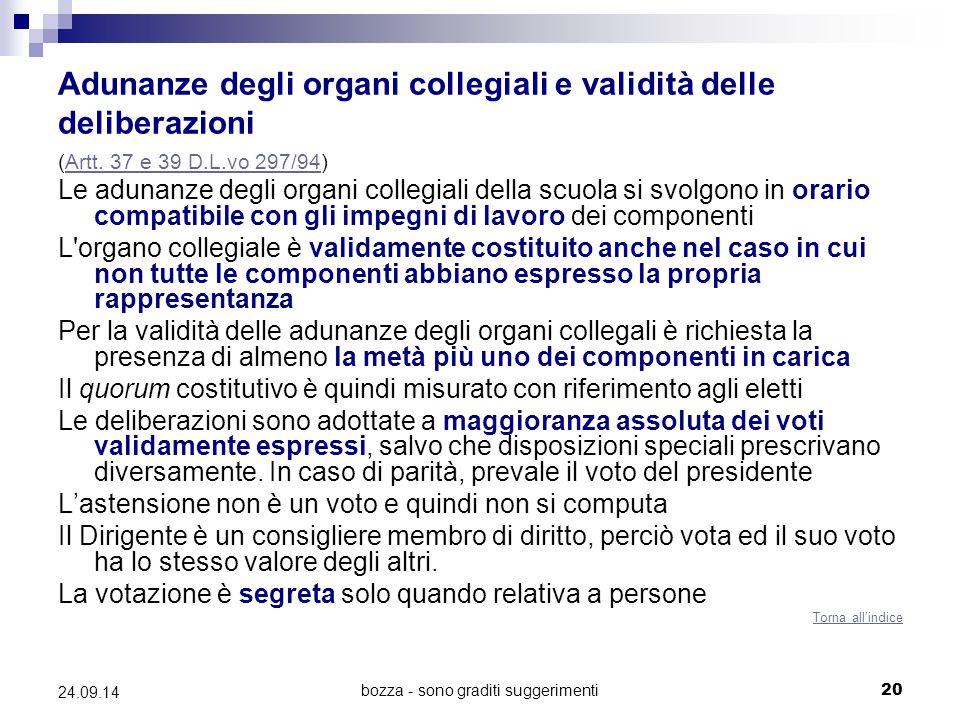 Adunanze degli organi collegiali e validità delle deliberazioni