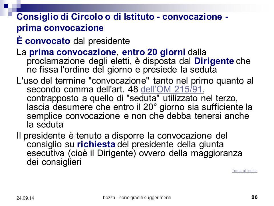 Consiglio di Circolo o di Istituto - convocazione - prima convocazione