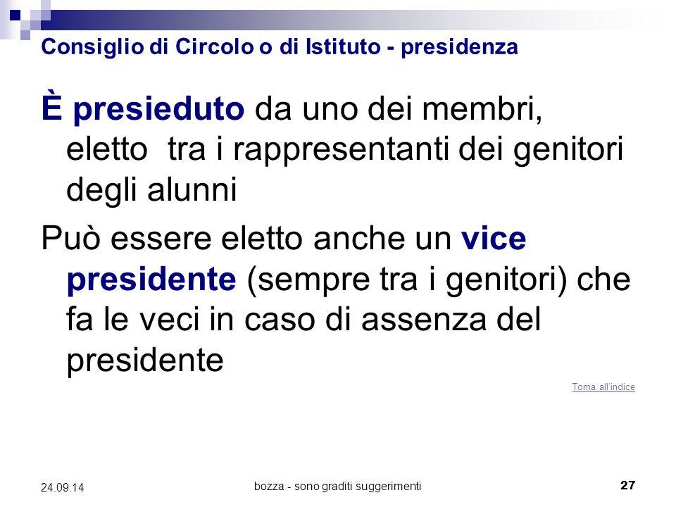 Consiglio di Circolo o di Istituto - presidenza