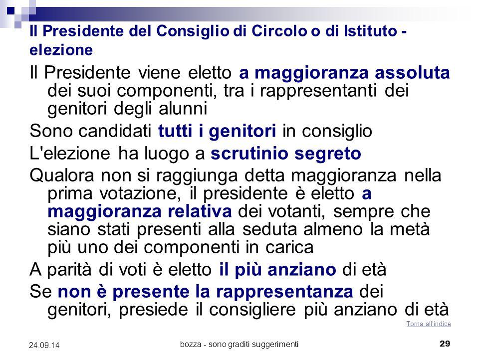 Il Presidente del Consiglio di Circolo o di Istituto - elezione