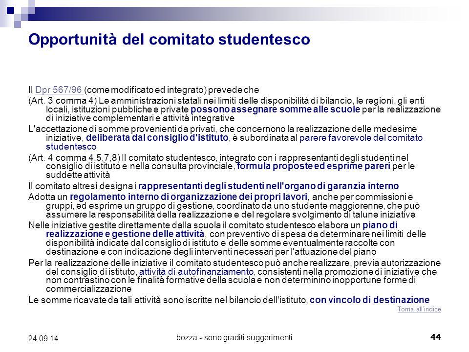 Opportunità del comitato studentesco