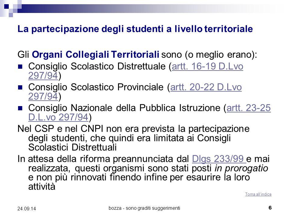 La partecipazione degli studenti a livello territoriale
