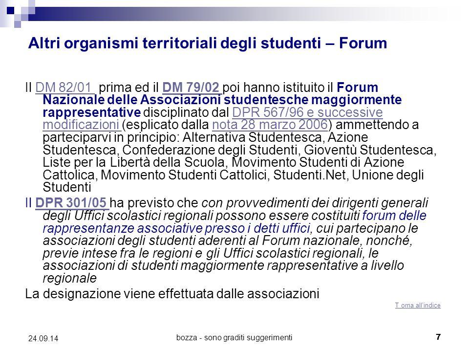 Altri organismi territoriali degli studenti – Forum