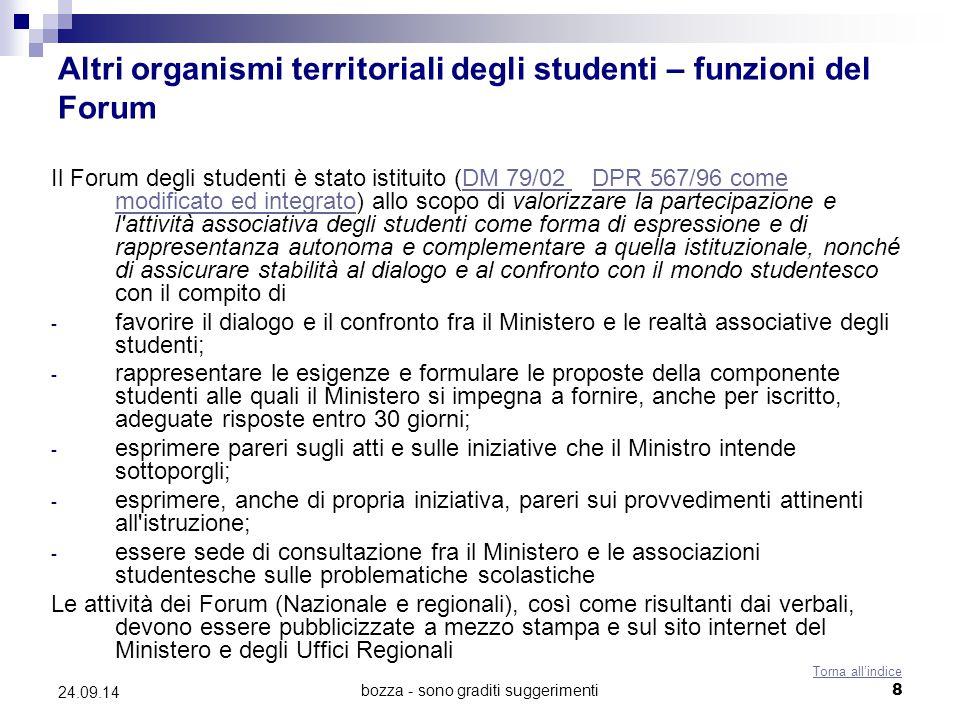 Altri organismi territoriali degli studenti – funzioni del Forum