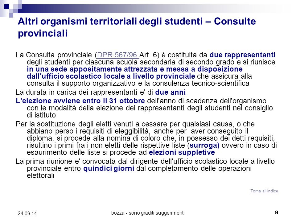 Altri organismi territoriali degli studenti – Consulte provinciali