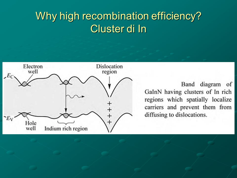 Why high recombination efficiency Cluster di In