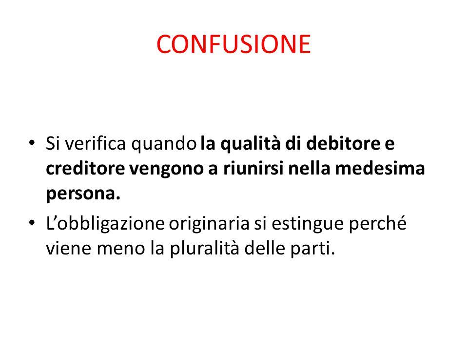 CONFUSIONE Si verifica quando la qualità di debitore e creditore vengono a riunirsi nella medesima persona.