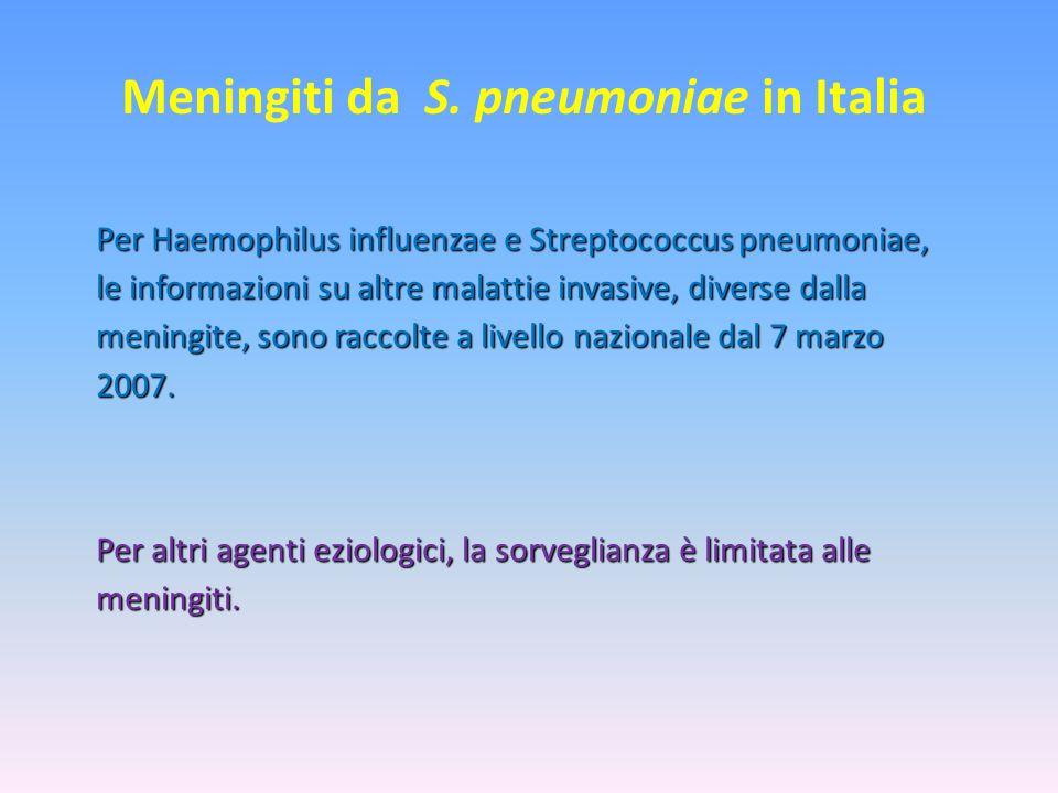 Meningiti da S. pneumoniae in Italia