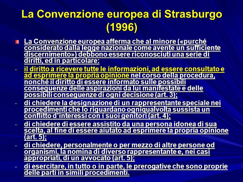La Convenzione europea di Strasburgo (1996)