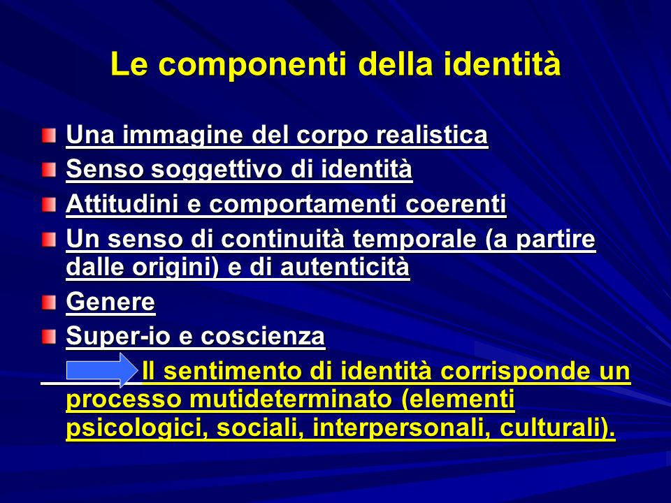 Le componenti della identità