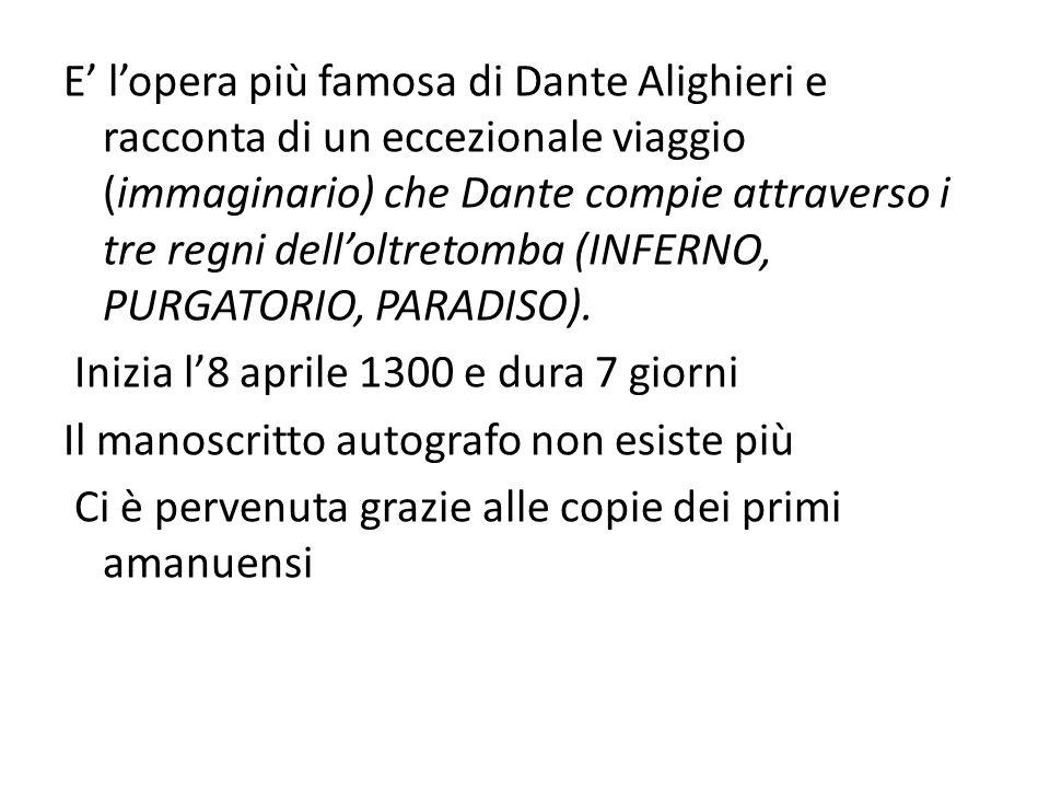 E' l'opera più famosa di Dante Alighieri e racconta di un eccezionale viaggio (immaginario) che Dante compie attraverso i tre regni dell'oltretomba (INFERNO, PURGATORIO, PARADISO).