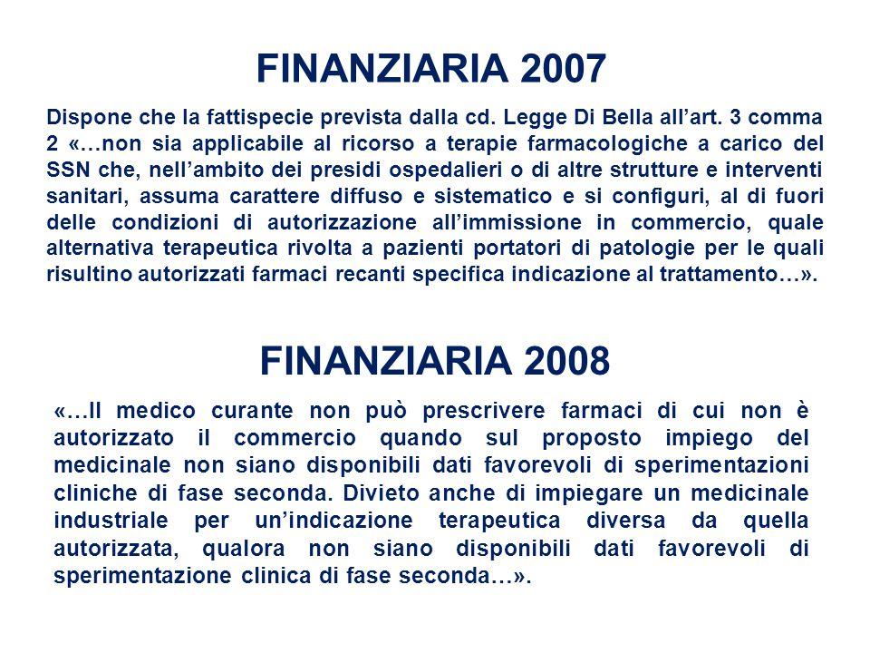 FINANZIARIA 2007 FINANZIARIA 2008