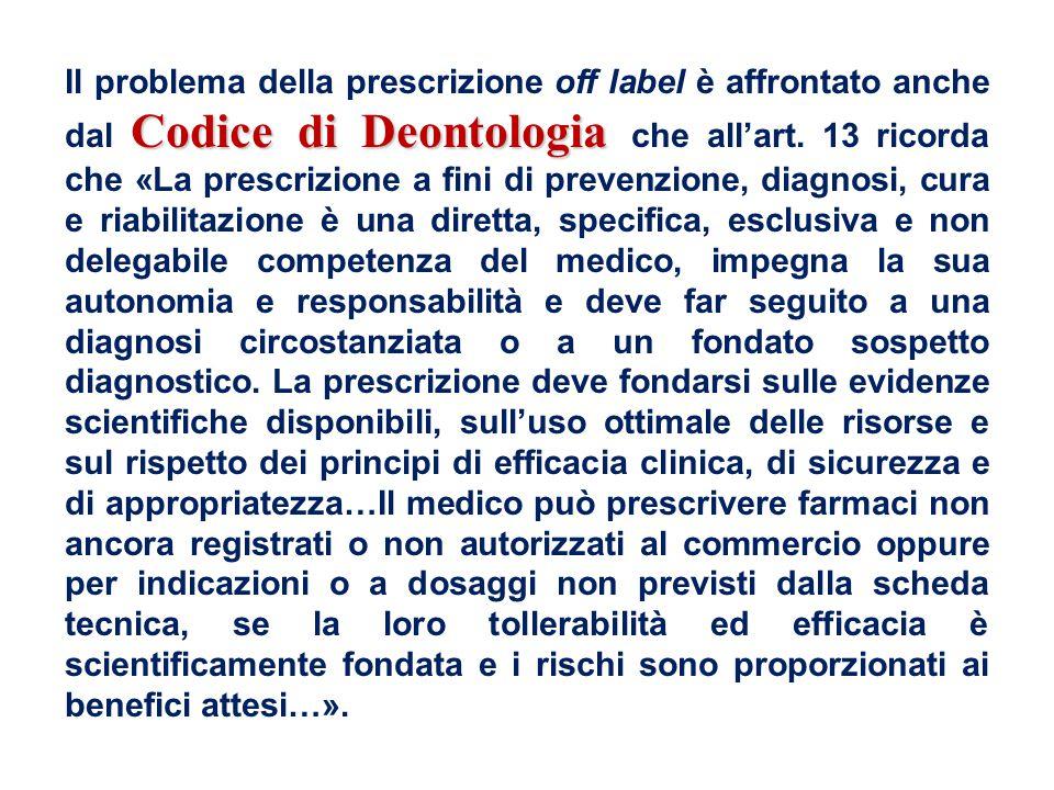 Il problema della prescrizione off label è affrontato anche dal Codice di Deontologia che all'art.
