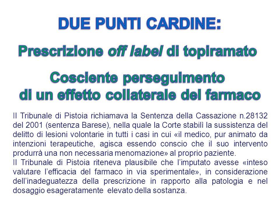 DUE PUNTI CARDINE: Prescrizione off label di topiramato