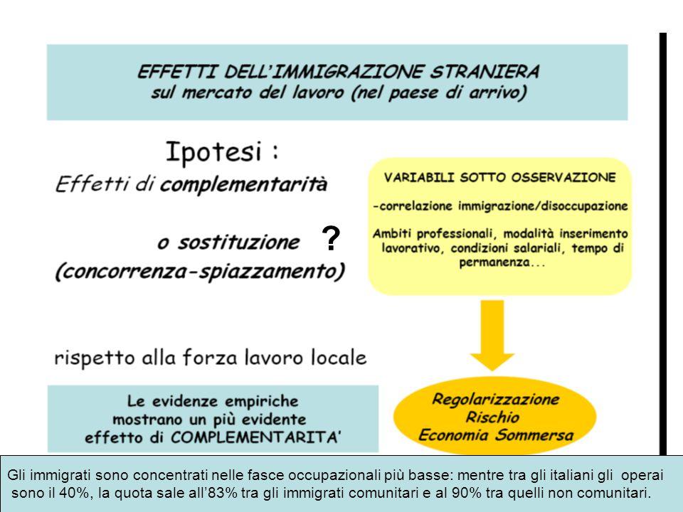 Gli immigrati sono concentrati nelle fasce occupazionali più basse: mentre tra gli italiani gli operai.