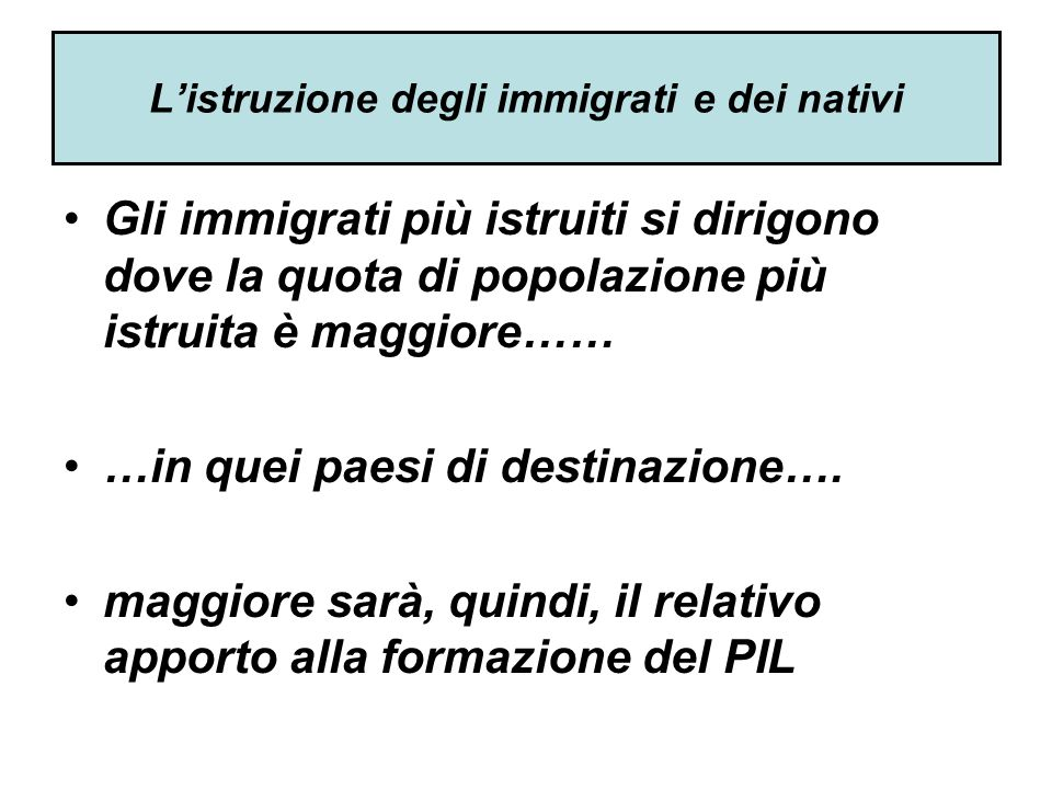 L'istruzione degli immigrati e dei nativi