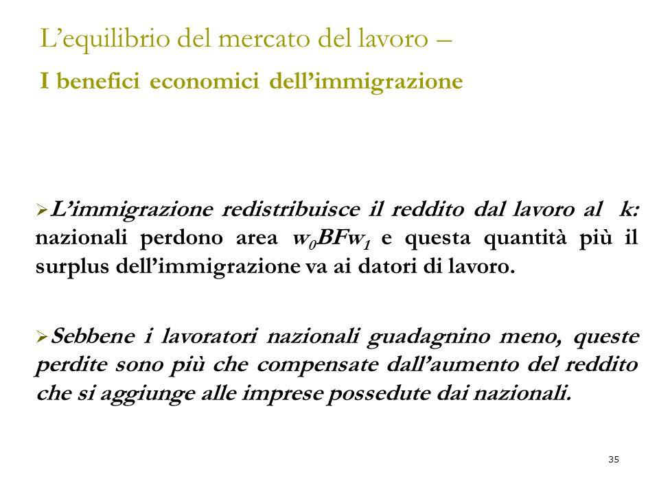 L'equilibrio del mercato del lavoro – I benefici economici dell'immigrazione