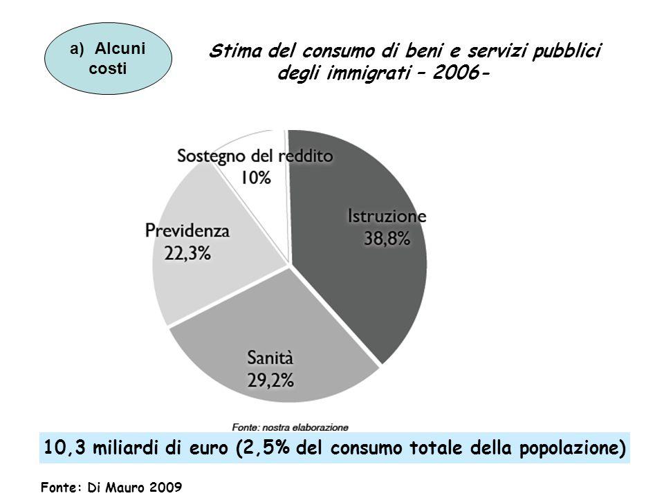 Stima del consumo di beni e servizi pubblici degli immigrati – 2006-