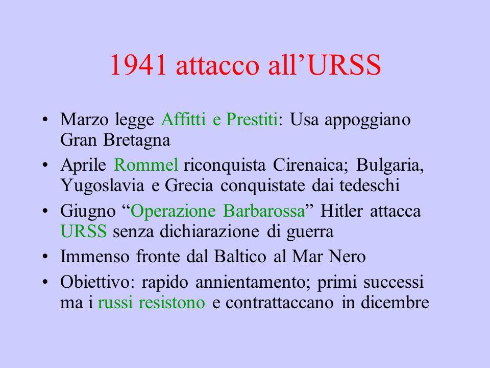 1941 attacco all'URSS Marzo legge Affitti e Prestiti: Usa appoggiano Gran Bretagna.