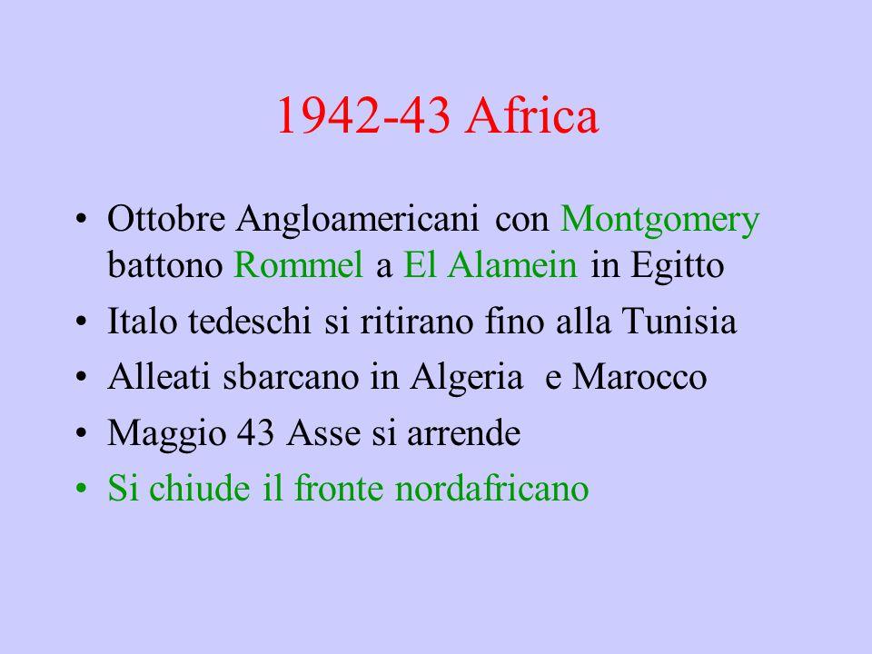 1942-43 Africa Ottobre Angloamericani con Montgomery battono Rommel a El Alamein in Egitto. Italo tedeschi si ritirano fino alla Tunisia.