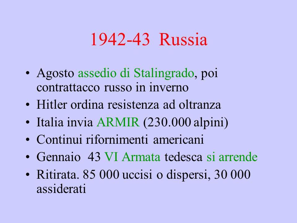 1942-43 Russia Agosto assedio di Stalingrado, poi contrattacco russo in inverno. Hitler ordina resistenza ad oltranza.