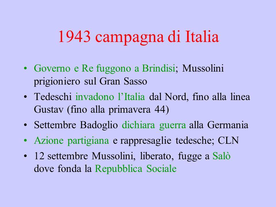 1943 campagna di Italia Governo e Re fuggono a Brindisi; Mussolini prigioniero sul Gran Sasso.