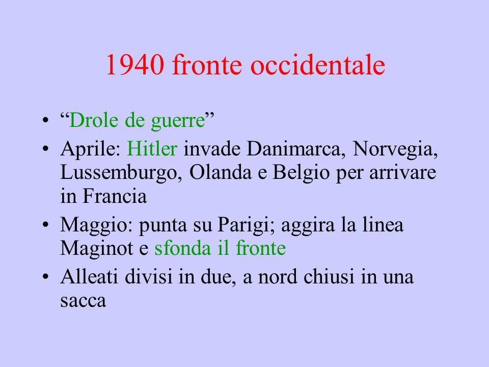 1940 fronte occidentale Drole de guerre