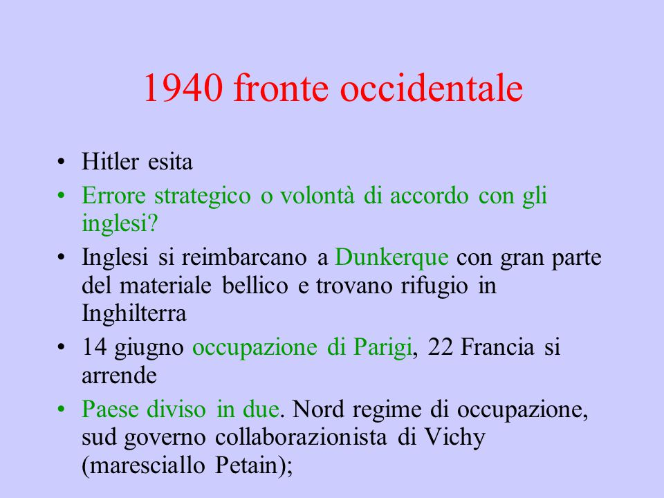 1940 fronte occidentale Hitler esita