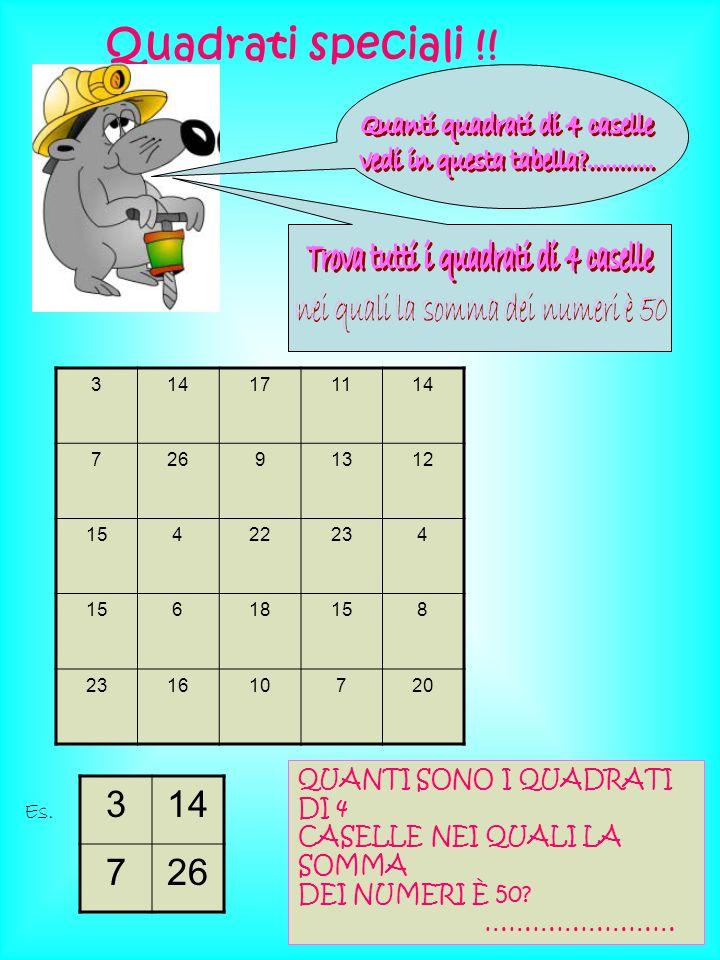 Quadrati speciali !! 3 14 7 26 Quanti quadrati di 4 caselle