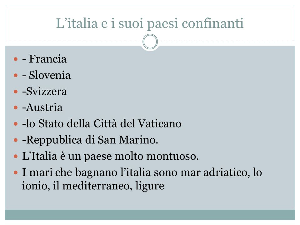 L'italia e i suoi paesi confinanti
