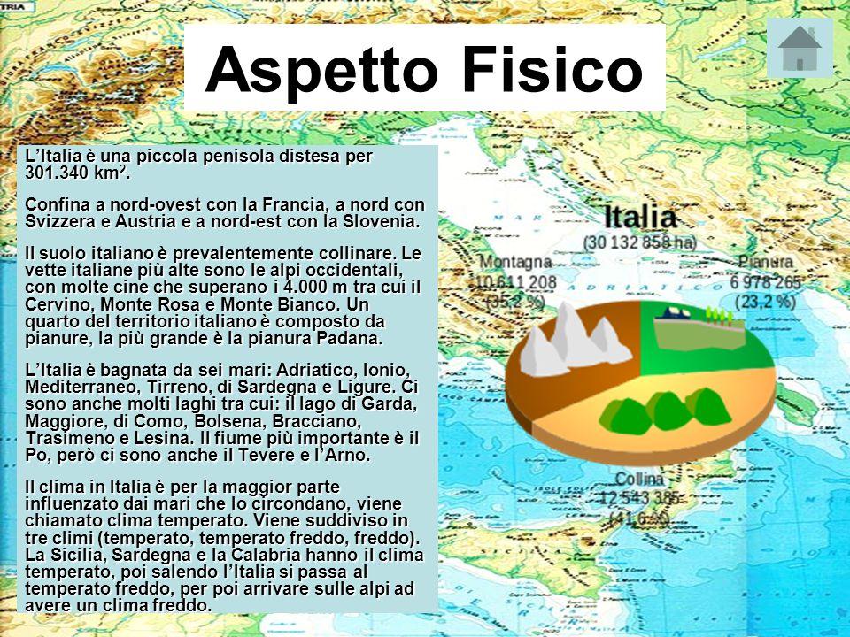 Aspetto Fisico L'Italia è una piccola penisola distesa per 301.340 km2.