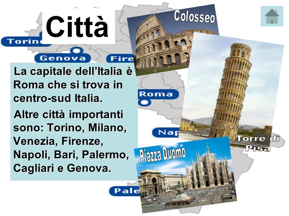 Città Colosseo. Torre di. Pisa. Piazza Duomo. La capitale dell'Italia è Roma che si trova in centro-sud Italia.
