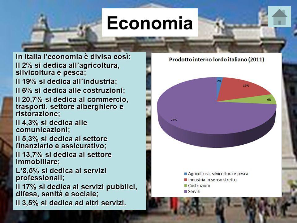 Economia In Italia l'economia è divisa così: