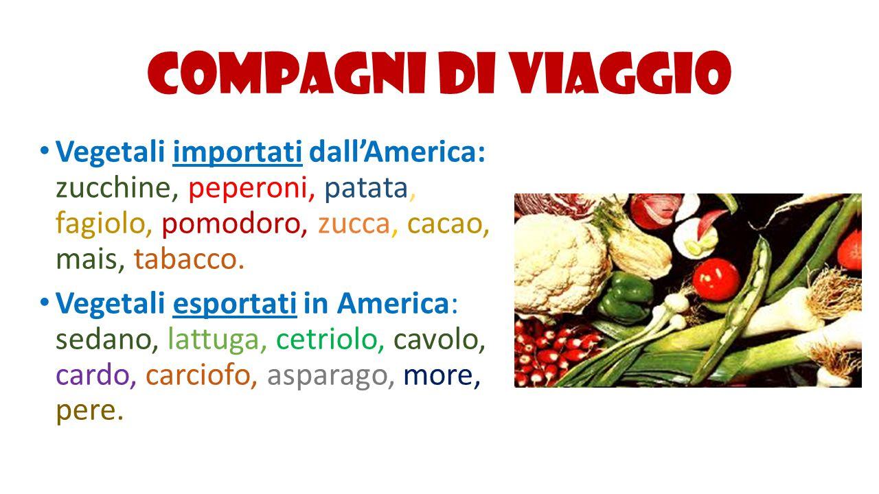 Compagni di viaggio Vegetali importati dall'America: zucchine, peperoni, patata, fagiolo, pomodoro, zucca, cacao, mais, tabacco.