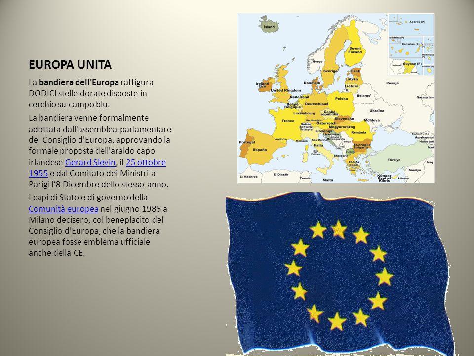EUROPA UNITA La bandiera dell Europa raffigura DODICI stelle dorate disposte in cerchio su campo blu.
