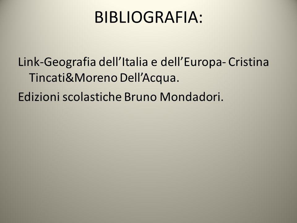 BIBLIOGRAFIA: Link-Geografia dell'Italia e dell'Europa- Cristina Tincati&Moreno Dell'Acqua.