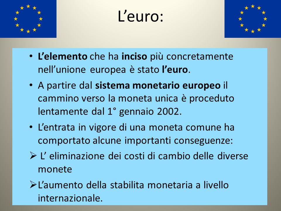 L'euro: L'elemento che ha inciso più concretamente nell'unione europea è stato l'euro.