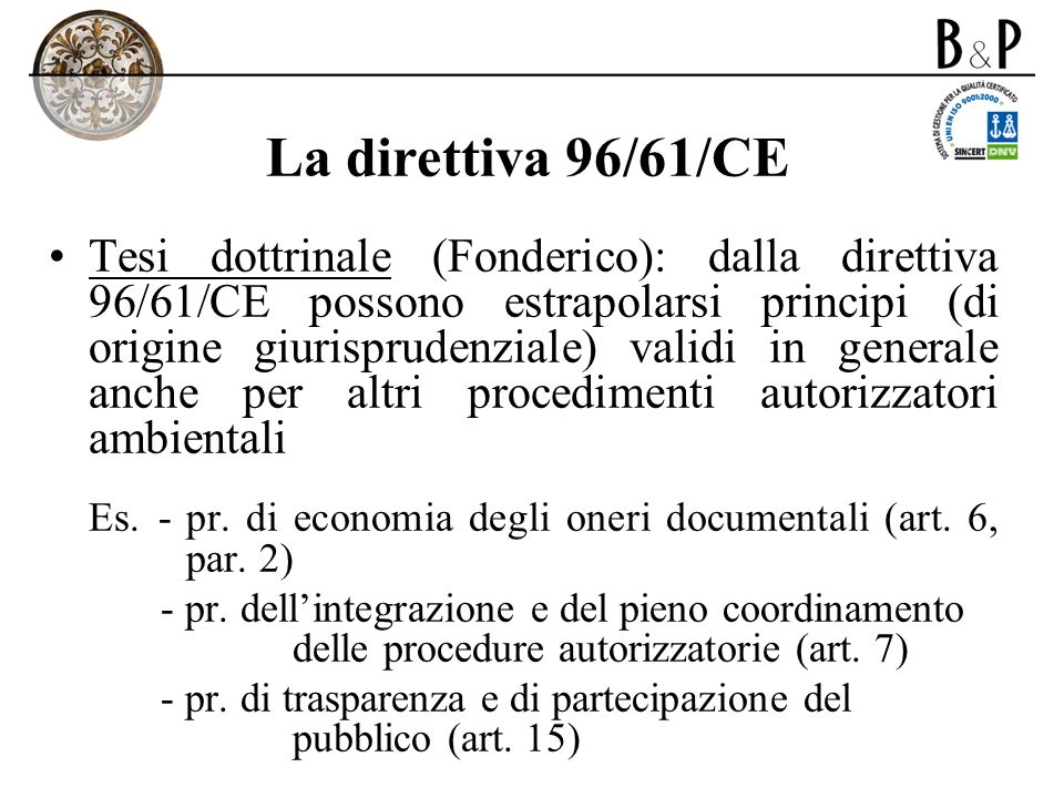 La direttiva 96/61/CE