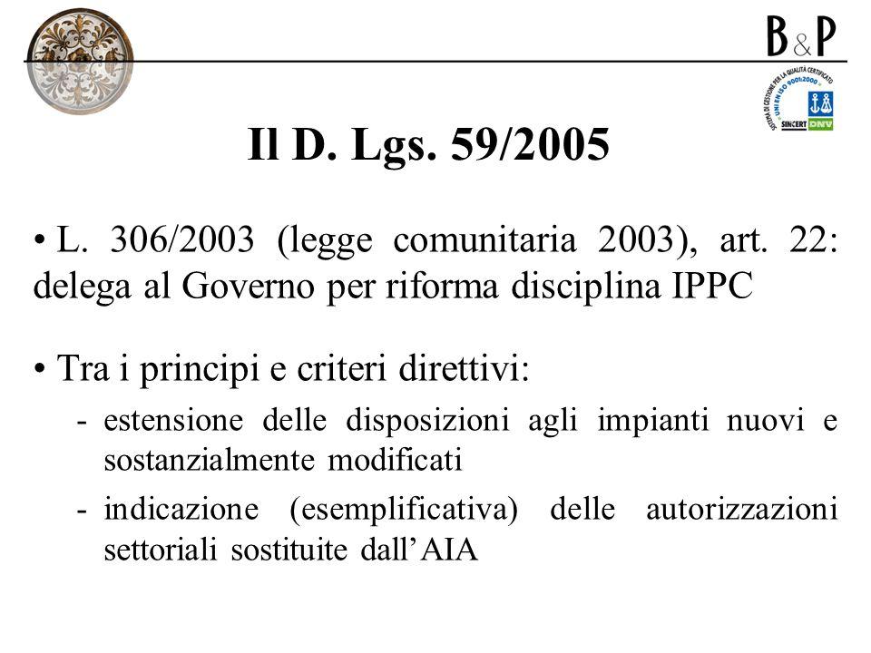 Il D. Lgs. 59/2005L. 306/2003 (legge comunitaria 2003), art. 22: delega al Governo per riforma disciplina IPPC.