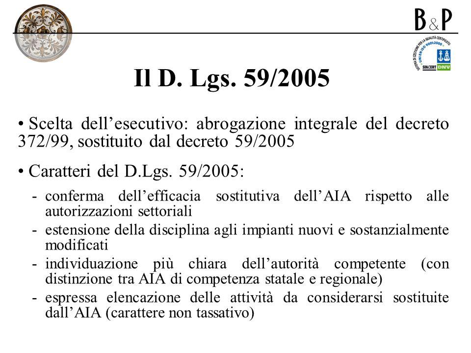 Il D. Lgs. 59/2005 Scelta dell'esecutivo: abrogazione integrale del decreto 372/99, sostituito dal decreto 59/2005.