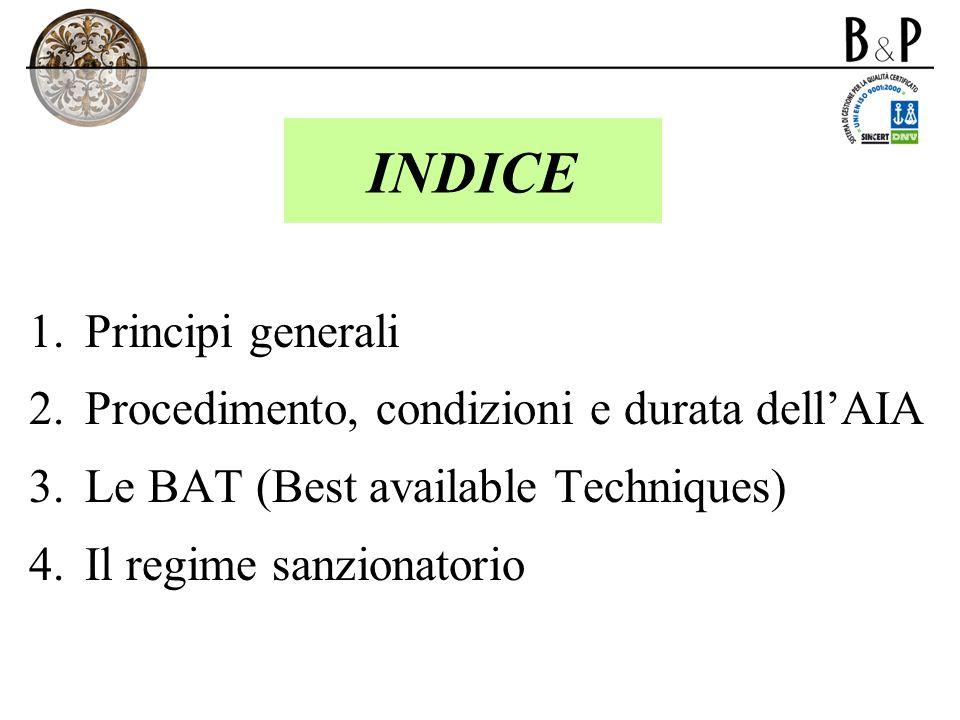 INDICE Principi generali Procedimento, condizioni e durata dell'AIA