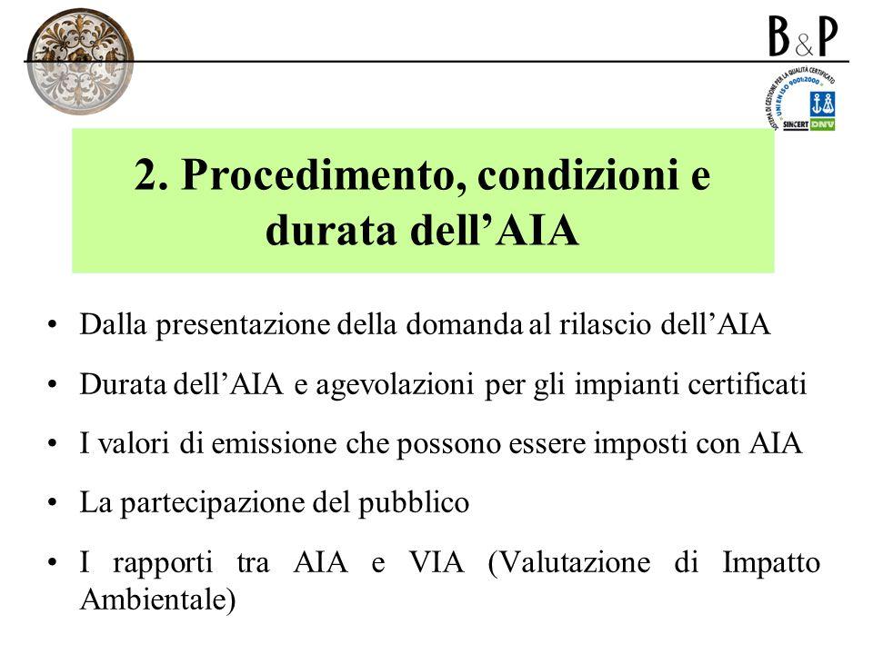 2. Procedimento, condizioni e durata dell'AIA
