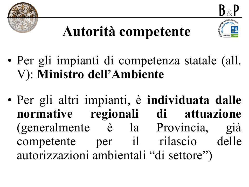 Autorità competentePer gli impianti di competenza statale (all. V): Ministro dell'Ambiente.