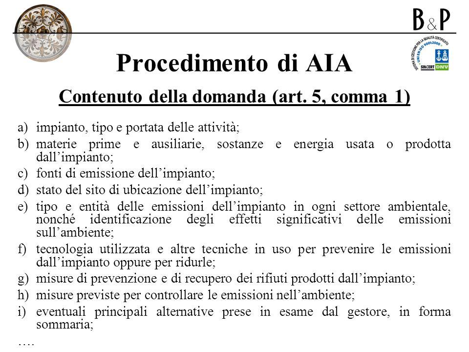 Contenuto della domanda (art. 5, comma 1)