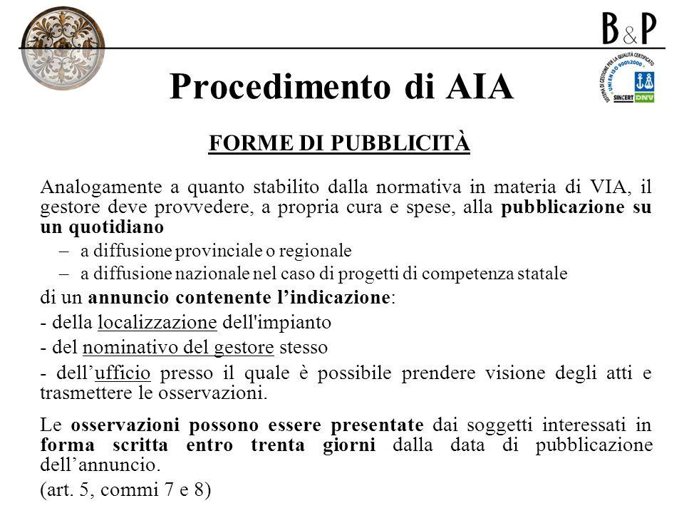 Procedimento di AIA FORME DI PUBBLICITÀ