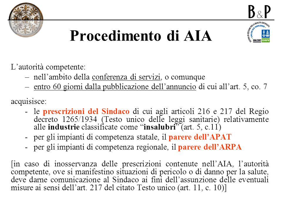 Procedimento di AIA L'autorità competente: