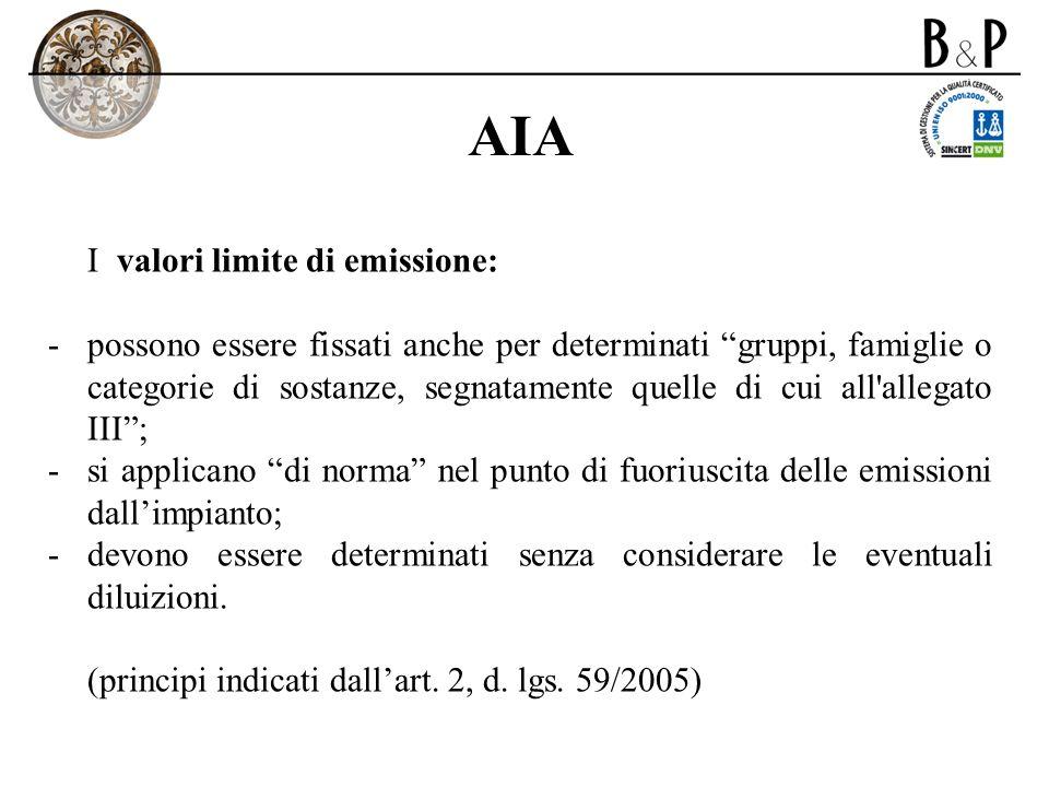 AIA I valori limite di emissione: